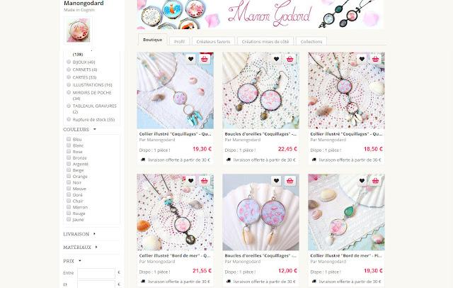 Manon Godard illustratrice bijoux boutique en ligne créations