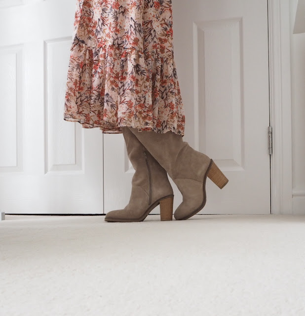 light tan knee high boots with block heel