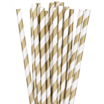 Paper Straw Gold & Silver