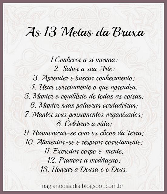 13 metas da bruxa