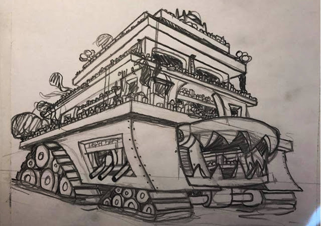 pencil sketch of london traction city