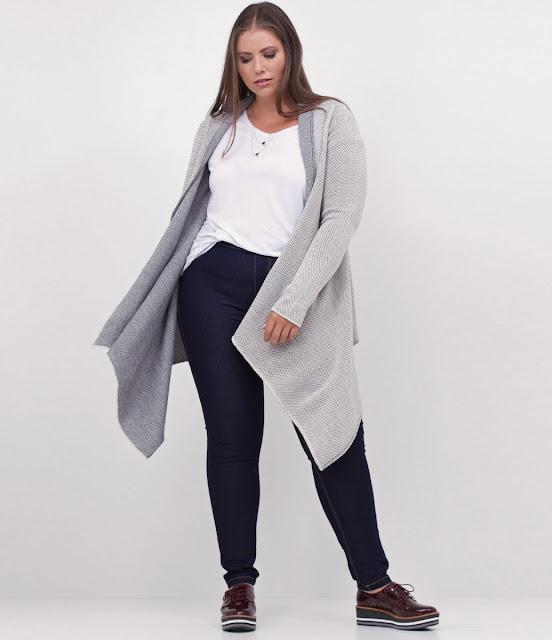 Moda plus size Casaco Alongado Curve & Plus Size com Pontas
