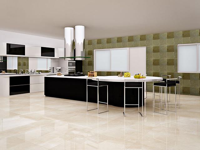 nhà bếp lát gạch màu gì