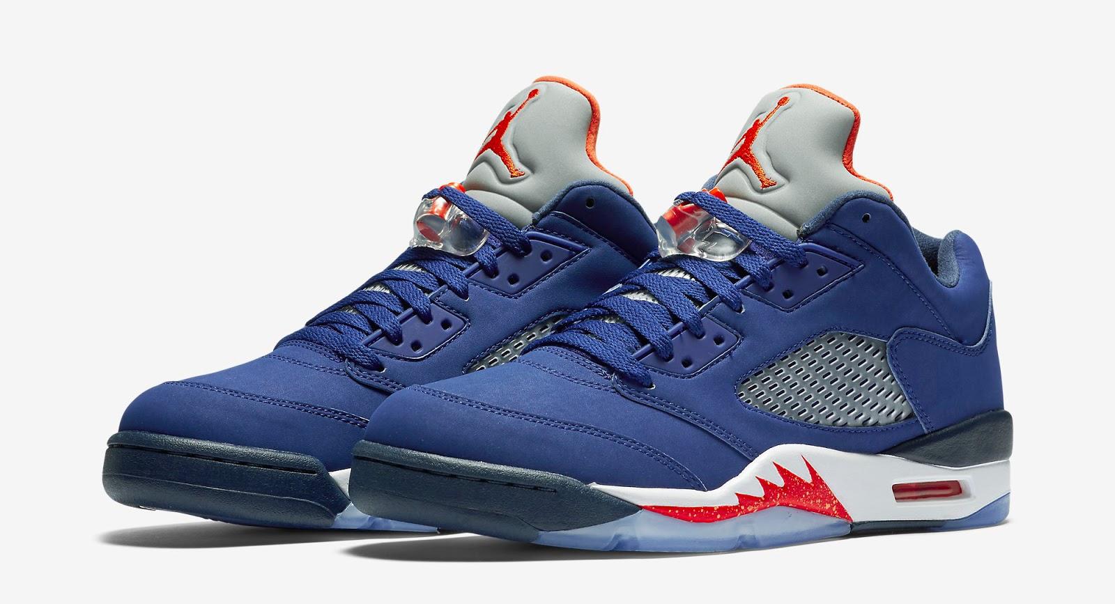 New Jordan 5 Retro Orange Red Blue Shoes