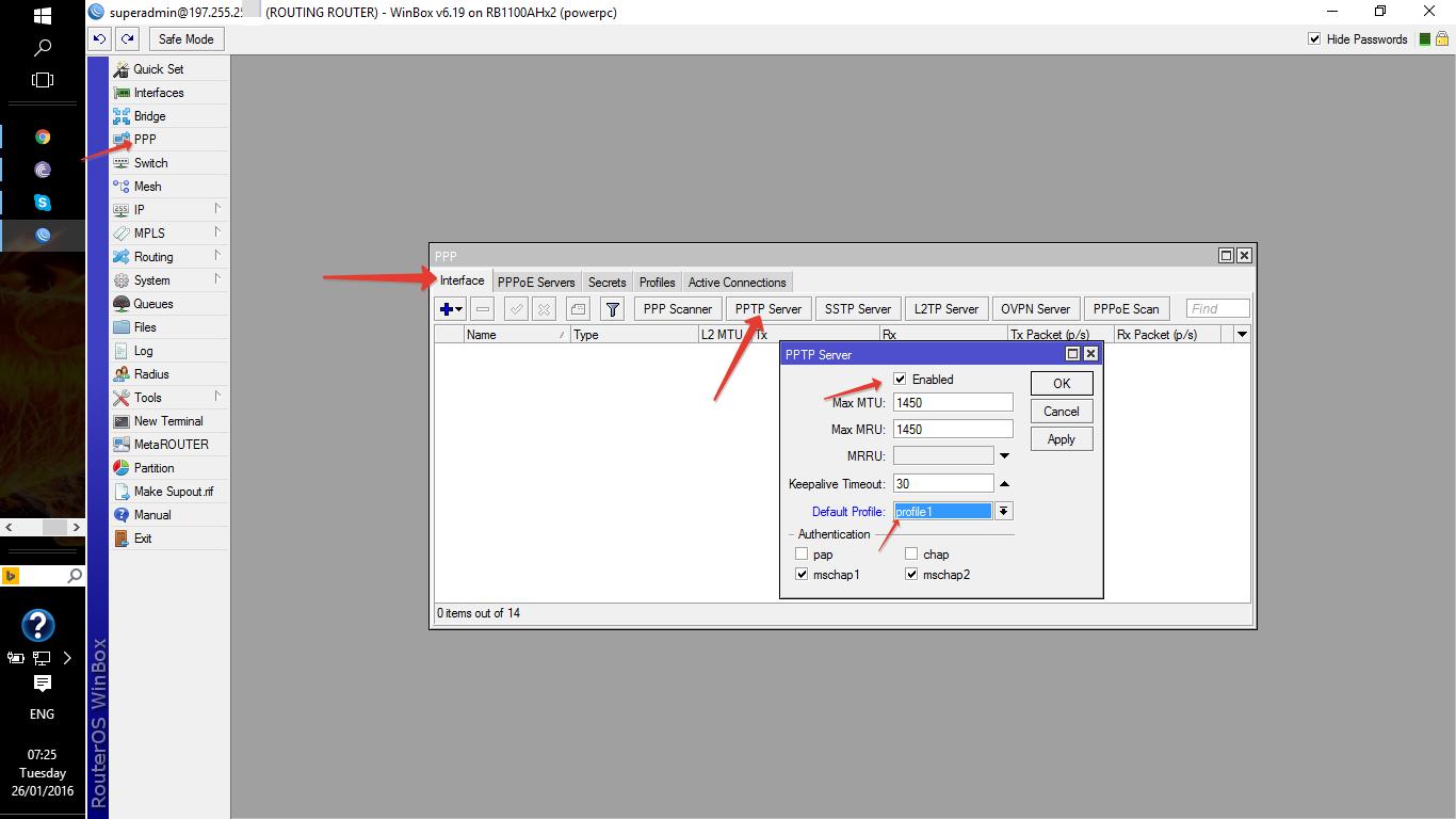 How to configure Mikrotik PPTP remote access vpn