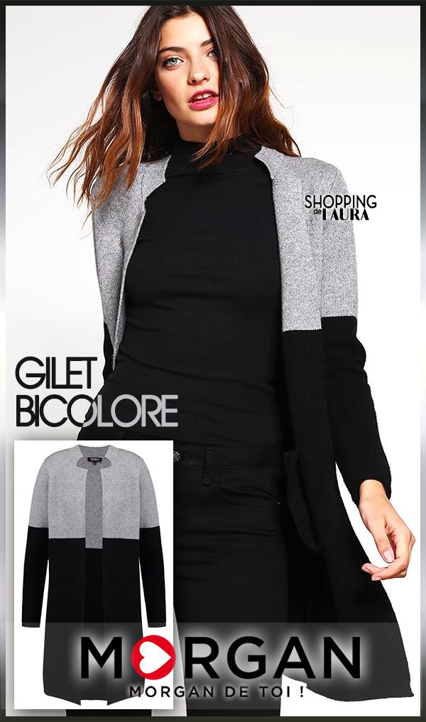 Gilet long bicolore gris et noir MORGAN