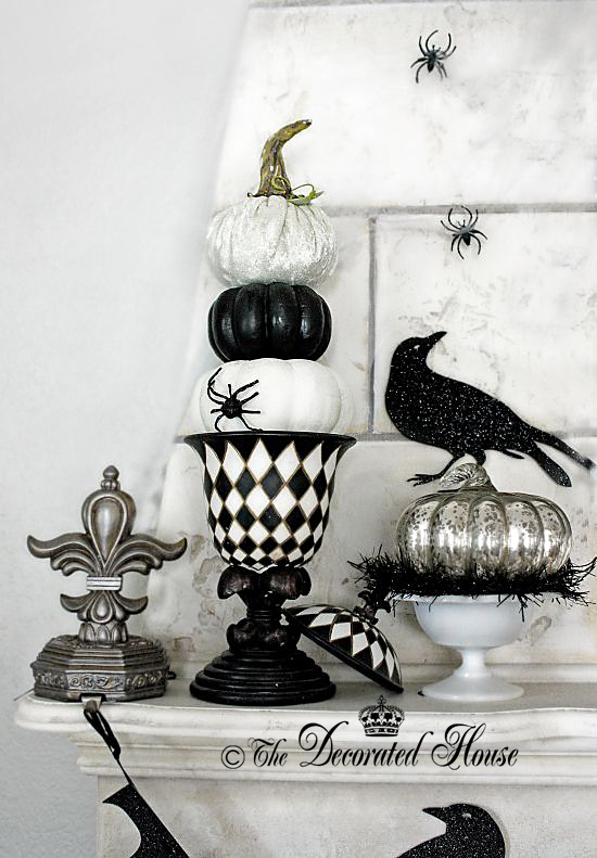 Halloween Decorating Elegant Black and White - The Decoratd House