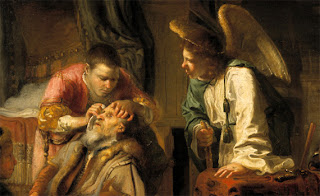 Tobias coloca o fel do peixe sobre os olhos do pai Gerrit van der Horst, 1645 - 1655