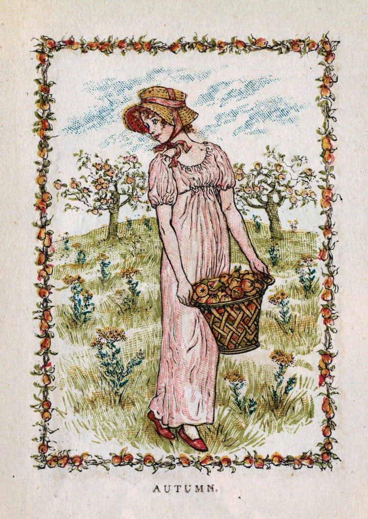 Vintage drawing of girl carrying a basket of apples.