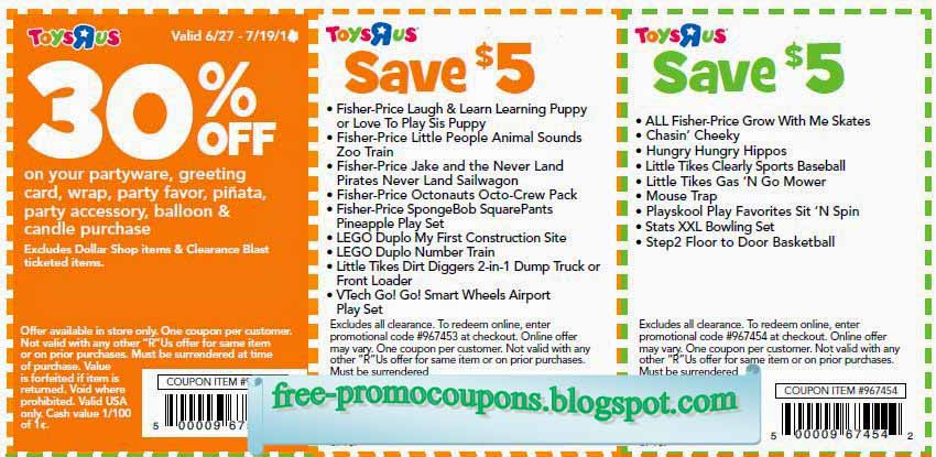 Here you can find the latest Toys R Us promotion codes