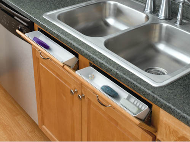 Make use of the space in front of your sink with these false front drawers