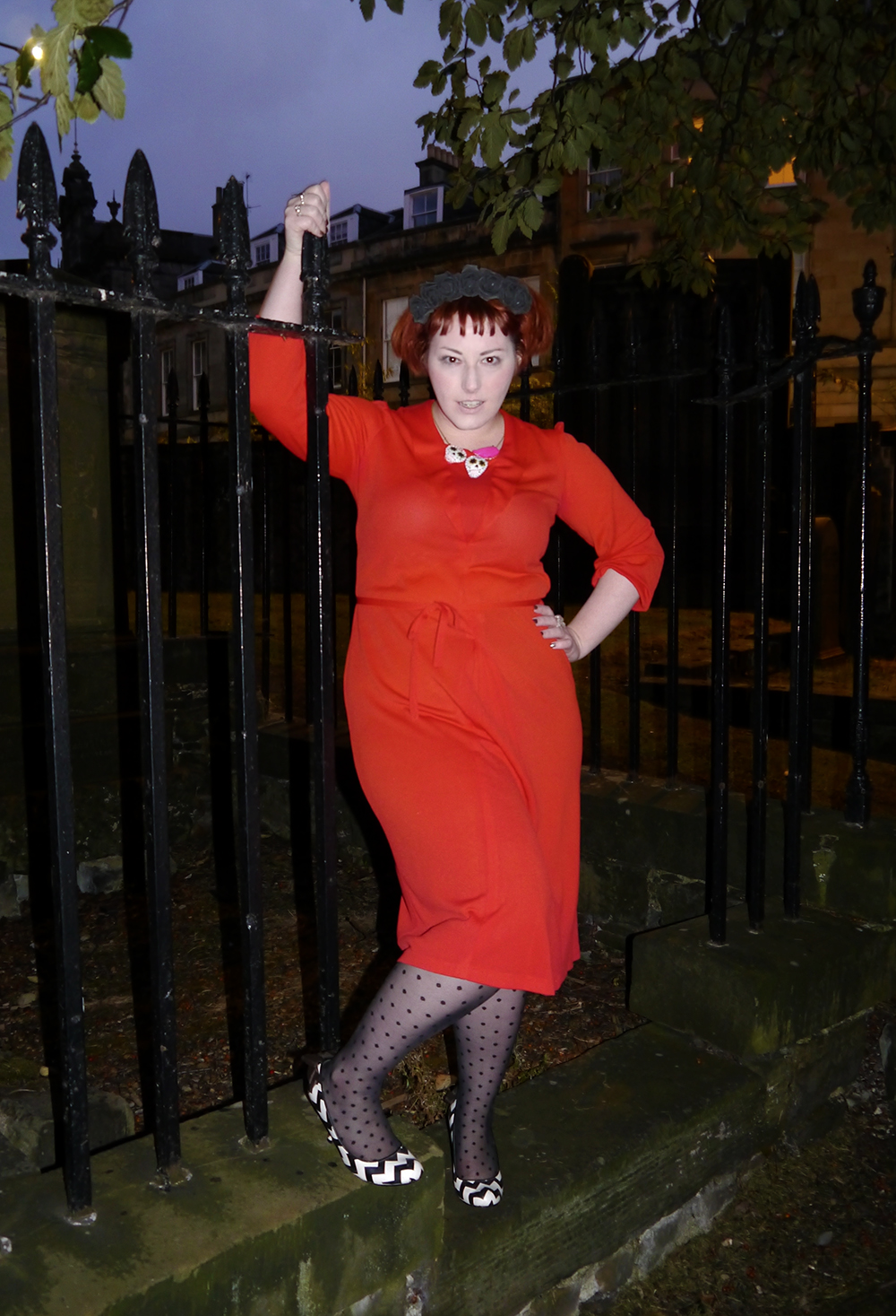 unlikely horror icon, unlikely style icon, Lydia Deetz from Beetlejuice, Halloween costume inspiration, easy Halloween costume, Halloween costume ideas, Beetlejuice costume, red dress costume, red vintag dress, Kitsch Kitty sugar skull necklace, Irregular Choice zig zag heels, Crown & Glory black flower crown, Wardrobe Conversations, Scottish Blogger, Edinburgh graveyard, Halloween inspiration, horror inspiration, Time Burton style outfit