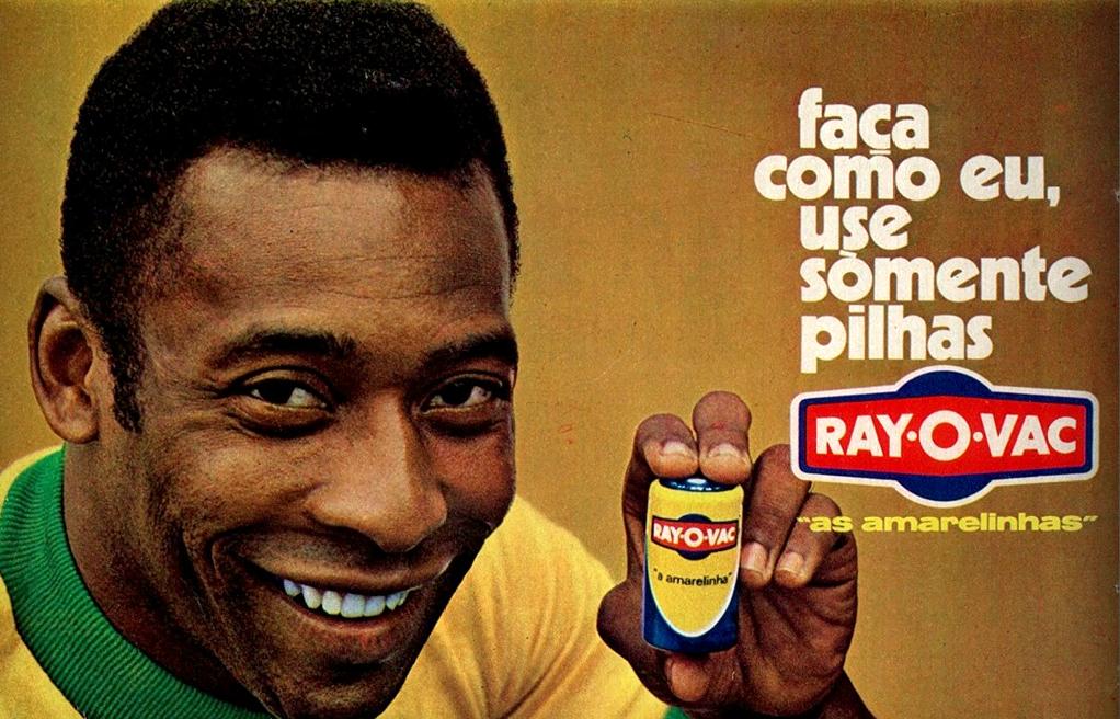 Propaganda das Pilhas Ray-O-Vac com o jogador Pelé no começo dos anos 70