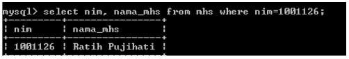 Contoh penggunaan Select dengan klausa where pada DML SQL