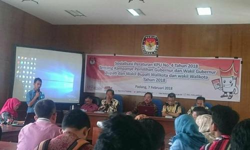 KPU Padang Sosialisasikan Teknis Kampanye, APK Bisa Ditambah 150 Persen dari Jatah