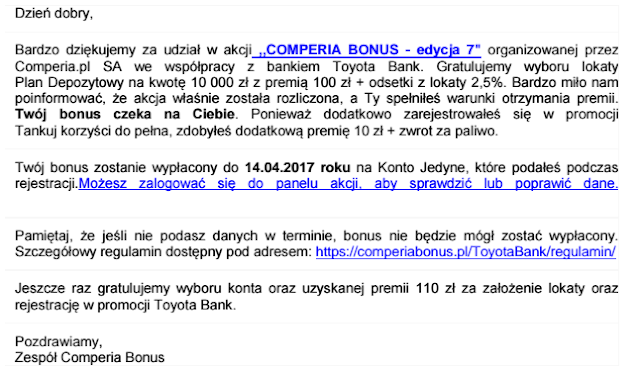 Mail do uczestników promocji Comperia Bonus 7