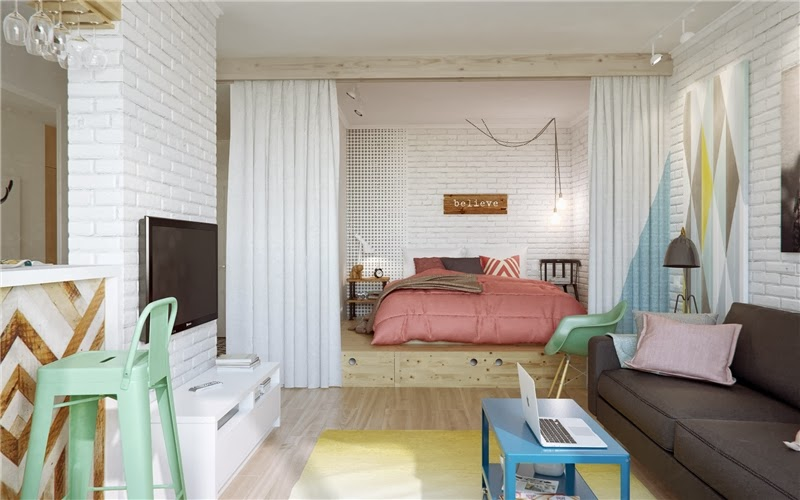 Mieszkanie w skandynawskim stylu z pastelowymi dodatkami, wystrój wnętrz, wnętrza, urządzanie domu, dekoracje wnętrz, aranżacja wnętrz, inspiracje wnętrz,interior design , dom i wnętrze, aranżacja mieszkania, modne wnętrza, styl skandynawski, scandinavian style, pastelowe kolory, małe wnętrza, kawalerka, salon, sypialnia