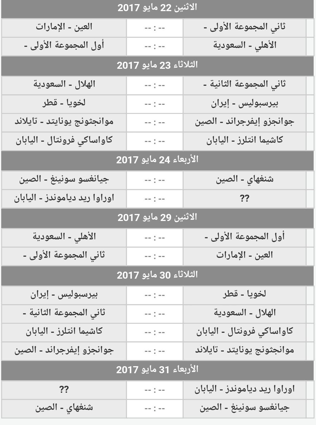 جدول ومواعيد مباريات دوري ابطال اسيا دور الستة عشر