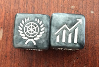 Gamelyn Games Tiny Epic Galaxies Beyond the Black Expansion Diplomacy and Economy symbols dice