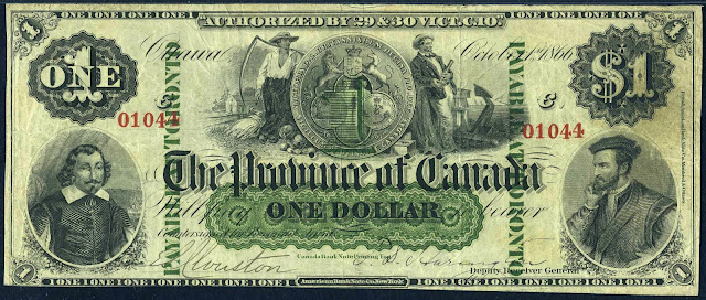 Canada One Dollar 1866 Samuel de Champlain and Jacques Cartier