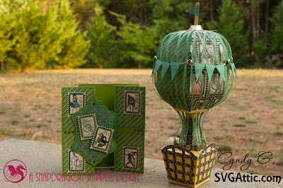 Wizard of Oz card and paper 3d hot air balloon