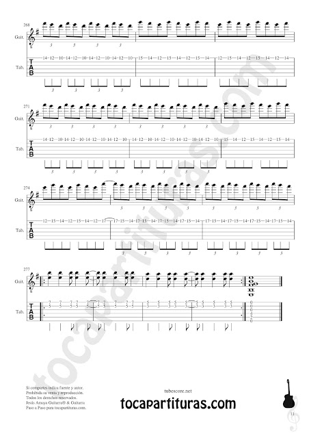PARTITURA 11 Partitura y Tablatura de Entre dos aguas Partituras para Guitarras Sheet Music for Guitar