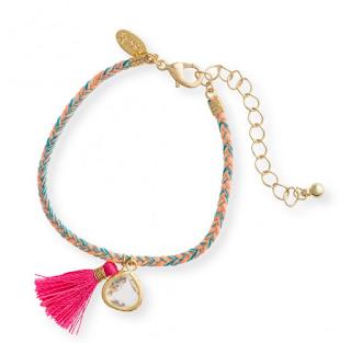 Neon Woven Folk Rave Tassel bracelet Oliver Bonas