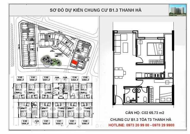 Sơ đồ mặt bằng chi tiết căn hộ C02 tòa T3 chung cư B1.3 Thanh Hà