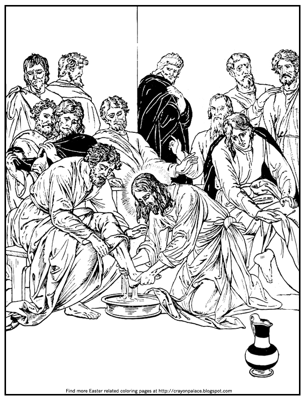 Magnificent Coloring Pages Of Jesus Washing His Disciples