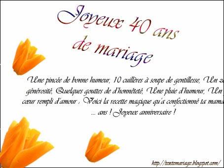 40 ans de mariage invitation mariage carte mariage texte mariage cadeau mariage. Black Bedroom Furniture Sets. Home Design Ideas