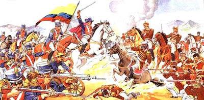 Dibujo de la Batalla de Pichincha en pleno enfrentamiento