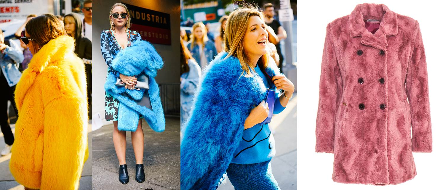 new york fashion week ss18 street style, fur trend