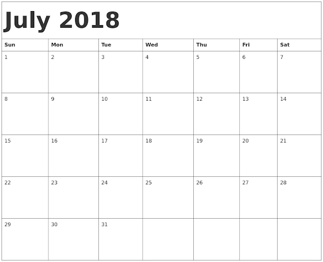 July calendar 2018 Holidays
