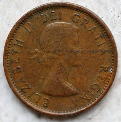 Obverse of 1956 Canadian Cent, Queen Elizabeth II Gratia Regina