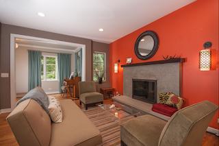paredes de sala naranja