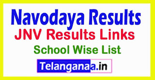 JNV Results Links / Navodaya Results 2017 School Wise List