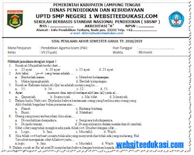 Soal PAS/ UAS PAI Kelas 7 SMP/MTs K13 Tahun 2018/2019