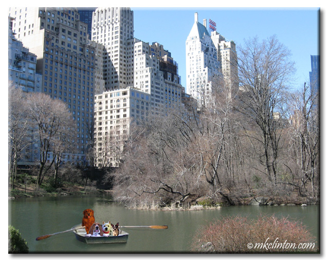 The Returns in a boat on Central Park lake