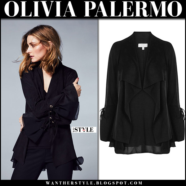 Olivia Palermo in black bell sleeve jacket Coast fall 2017 collection