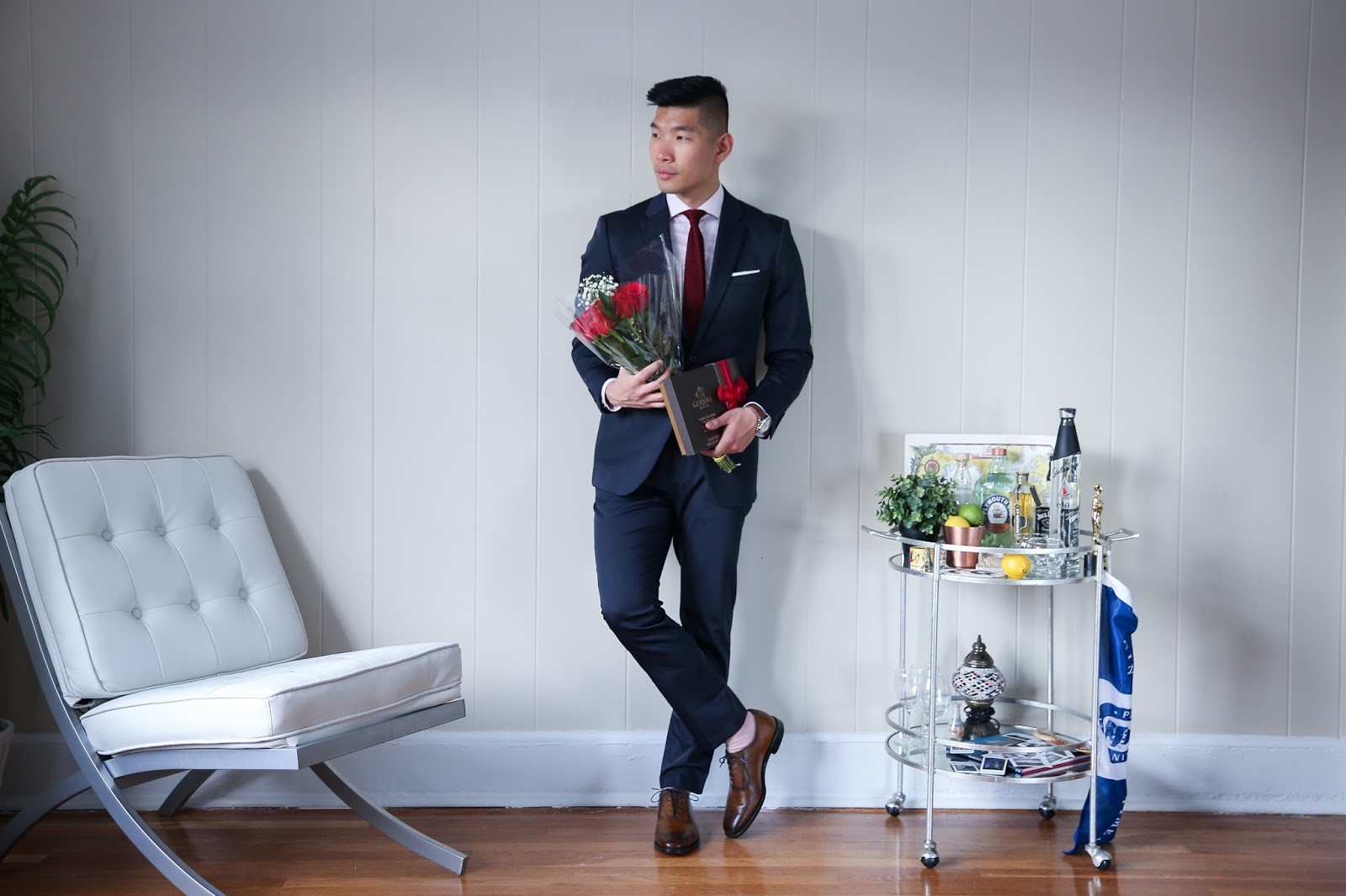 Perry Ellis Navy Suit for Valentine's Day, Menswear outfit