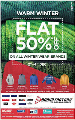 Flat 50% off on all winter wear brands | December 2016 year end sale festival discount offers