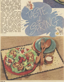 detail from recipe page of the Australian women's weekly, showing a plate of salads and recipe text.