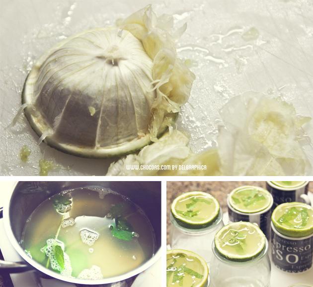 Chupito de gelatina de mojito - limpiar cáscara de lima