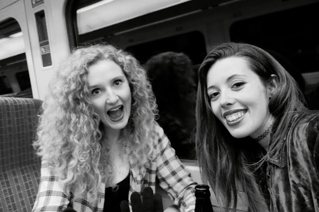 Joy and Dani on the train