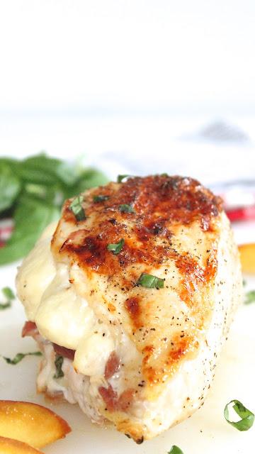 Peach Prosciutto Stuffed Chicken Breast with Queso de Freir