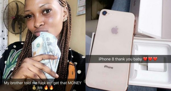 My Brother Told Me To F*ck Them And Get That Money - Nigerian Lady Shows Off Her Iphone 8 And Dollar Bills