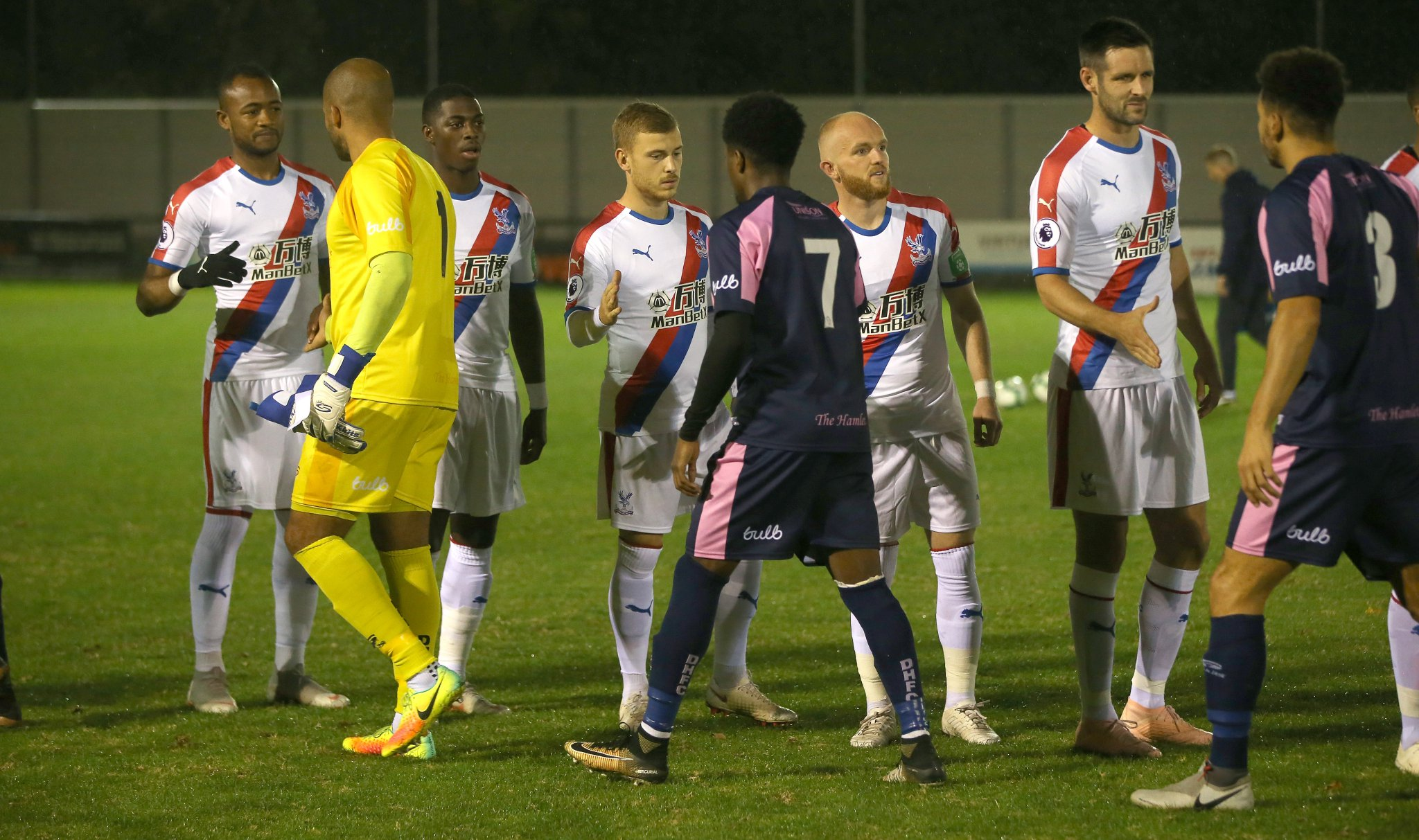 Dulwich Hamlet goalkeeper Preston Edwards nearly has his car towed whilst playing in goal vs Crystal Palace
