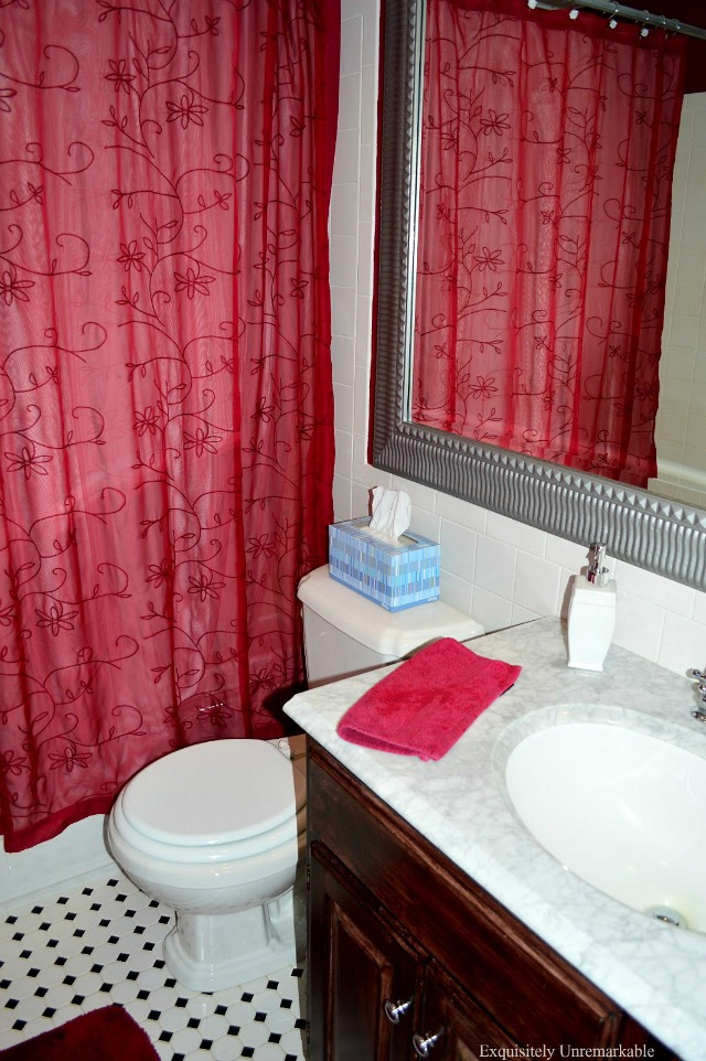Blue Tissue Box In Red Bathroom