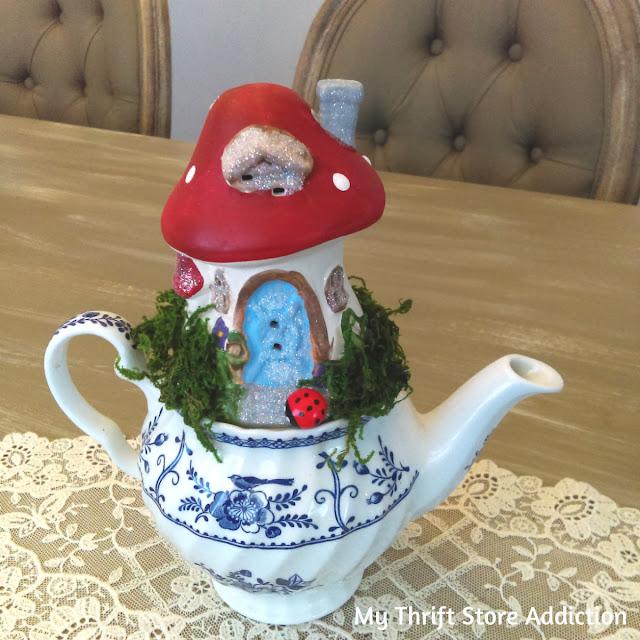 upcycled dollar store teapot fairy garden