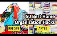 50 Cool Household hacks, 50 Best Home Organization Hacks, Simple lifehacks for home, cleaning, arranging,